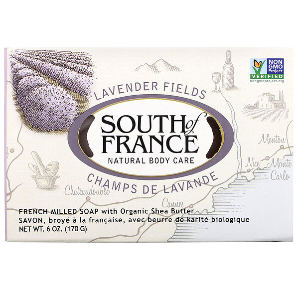 Lavender Fields, French Milled Soap with Organic Shea Butter, 6 oz (170 g)