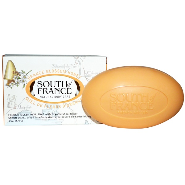 Orange Blossom Honey, French Milled Bar Soap with Organic Shea Butter, 6 oz (170 g)