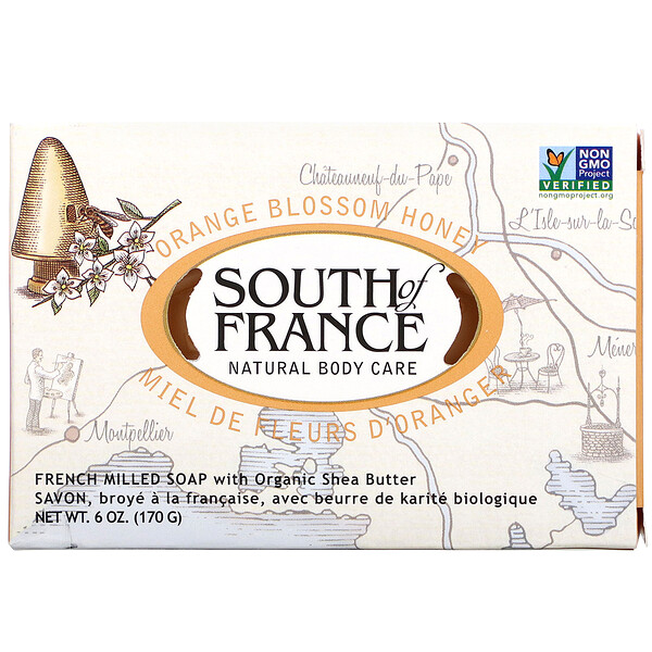 South of France, Orange Blossom Honey, French Milled Bar Soap with Organic Shea Butter, 6 oz (170 g)