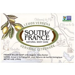 South of France, 檸檬馬鞭草有機乳木果法式手工研磨香皂,6 盎司(170 克)