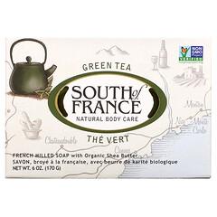South of France, 綠茶有機乳木果法式手工研磨香皂,6 盎司(170 克)
