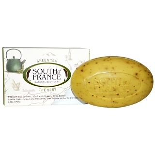 South of France, Green Tea, French Milled Bar Oval Soap with Organic Shea Butter, 6 oz (170 g)