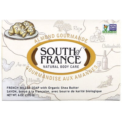 Almond Gourmande, French Milled Soap with Organic Shea Butter, 6 oz (170 g) lush gardenia french milled soap with organic shea butter 6 oz 170 g