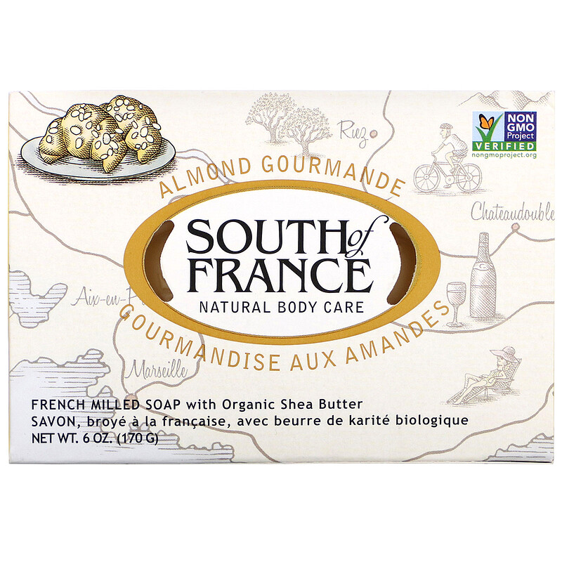 Almond Gourmande, French Milled Soap with Organic Shea Butter, 6 oz (170 g)