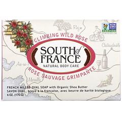 South of France, 攀緣玫瑰,法式手工研磨橢圓形香皂,含有機乳木果油,6 盎司(170 克)