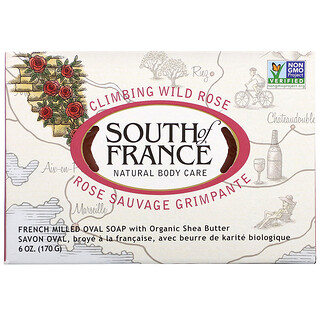 South of France, Climbing Wild Rose, French Milled Oval Soap with Organic Shea Butter, 6 oz (170 g)
