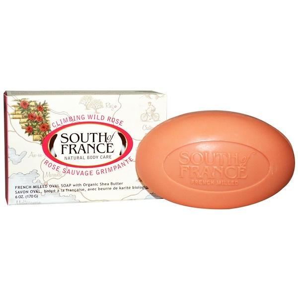 South of France, 爬牆野玫瑰,法國有機乳木果油磨砂橢圓香皂,6盎司(170克)
