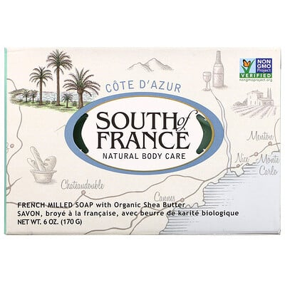 Cote D' Azur, French Milled Bar Soap with Organic Shea Butter, 6 oz (170 g) lush gardenia french milled soap with organic shea butter 6 oz 170 g