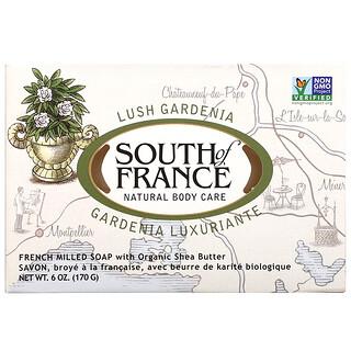 South of France, цветущая гардения, мыло с органическим маслом ши, изготовленное по французскому рецепту, 170г (6унций)