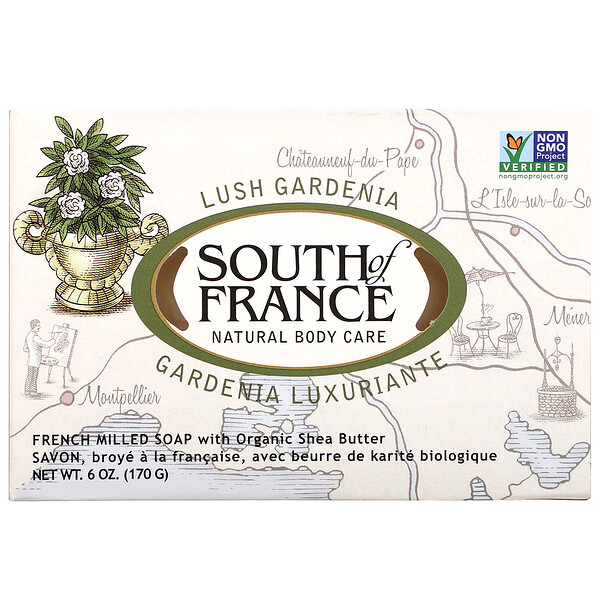 Lush Gardenia, French Milled Soap with Organic Shea Butter, 6 oz (170 g)