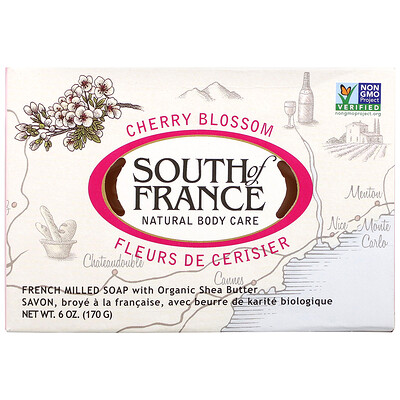 Купить South of France Кусковое мыло, пилированное по-французски, с органическим маслом ши, с ароматом цветущей вишни, 170г (6унций)