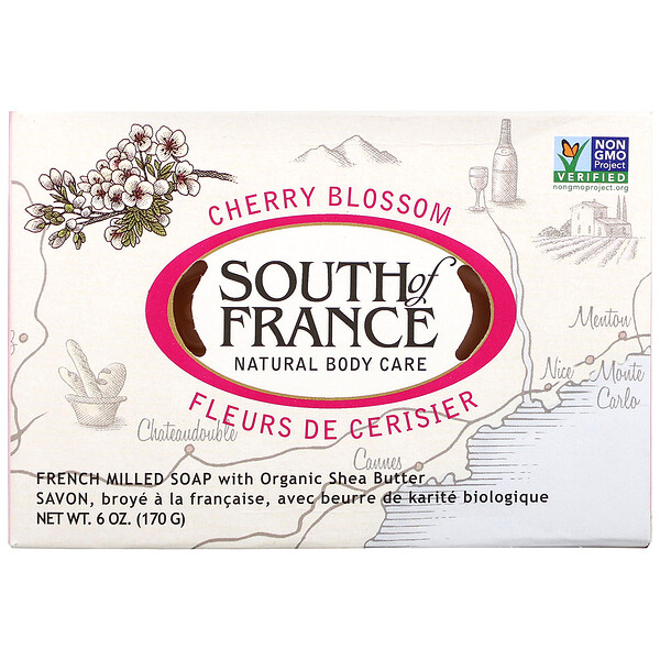 French Milled Bar Soap with Organic Shea Butter, Cherry Blossom, 6 oz (170 g)