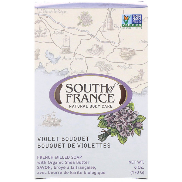 South of France, French Milled Bar Soap with Organic Shea Butter, Violet Bouquet, 6 oz (170 g)