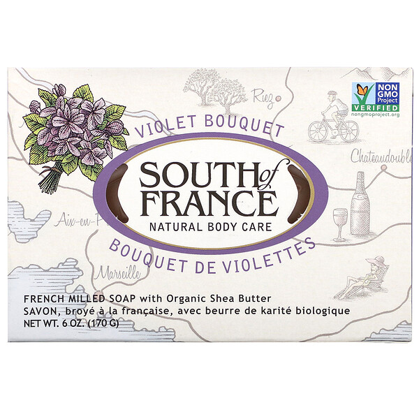 French Milled Bar Soap with Organic Shea Butter, Violet Bouquet, 6 oz (170 g)