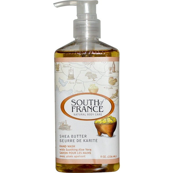 South of France, Manteca de karité, jabón para manos con aloe vera calmante, 8 oz (236 ml)