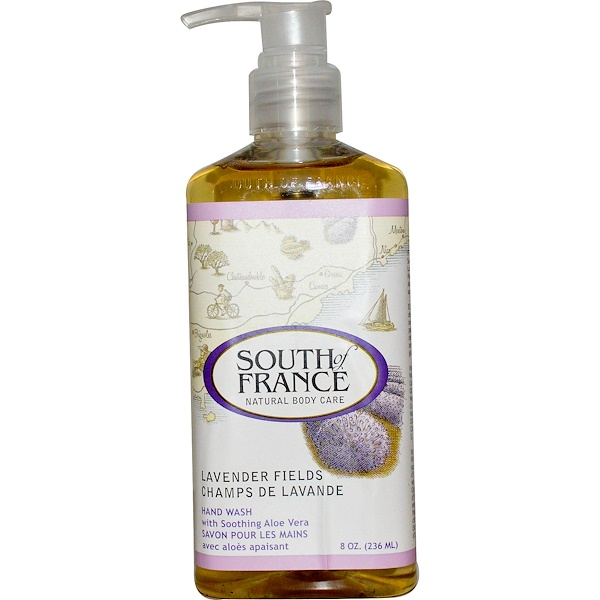 South of France, Champs de Lavande, Lavage à la Main avec Calmant Aloe Vera, 8 oz (236 ml)