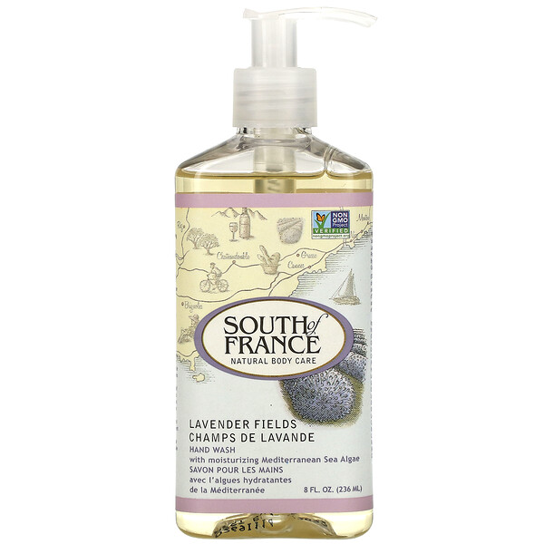 South of France, Campos de lavanda, sabonete para as mãos com aloe vera suavizante, 8 oz. (236 mL)