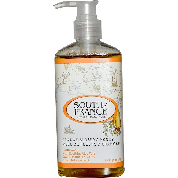 South of France, Miel de fleur d'oranger, produit lavage main avec Aloe Vera apaisant, 8 oz (236 ml)