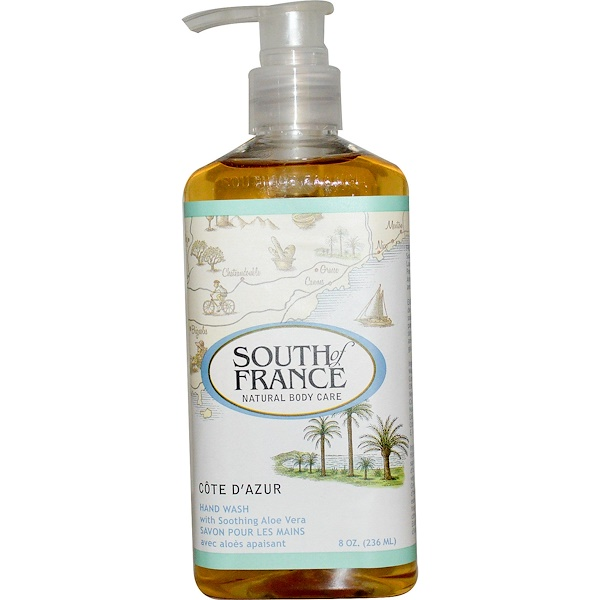 South of France, Côte d'Azur, Lavage à la Main avec Calmant Aloe Vera, 8 oz (236 ml) (Discontinued Item)