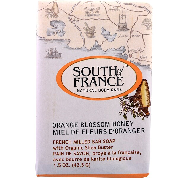 South of France, French Milled Bar Soap with Organic Shea Butter, Orange Blossom Honey, 1.5 oz (42.5 g)