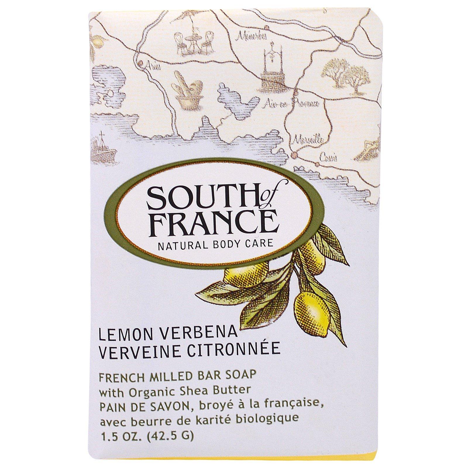 South of France, Lemon Verbena,французское пилированное мыло с вербеной лимонной и органическим маслом ши, 1,5 унции (42,5 г)
