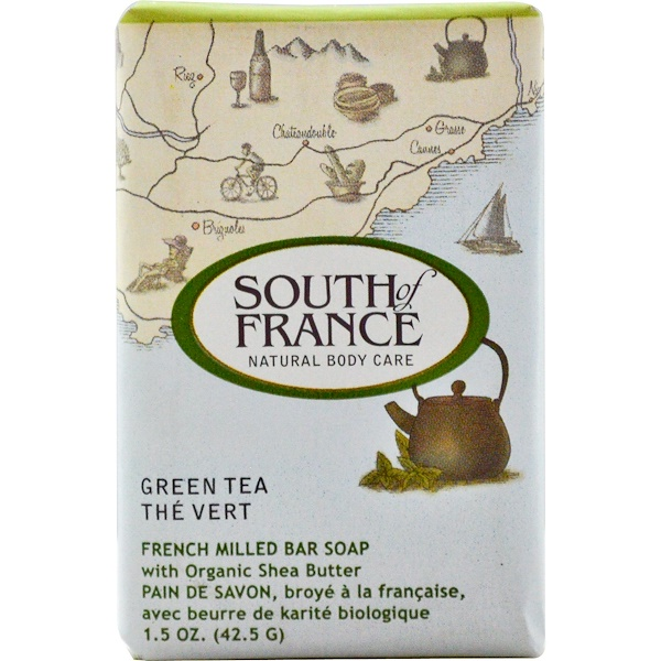 South of France, Green Tea, French Milled Bar Soap with Organic Shea Butter, 1.5 oz (42.5 g) (Discontinued Item)