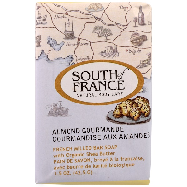French Milled Bar Soap with Organic Shea Butter, Almond Gourmande, 1.5 oz (42.5 g)