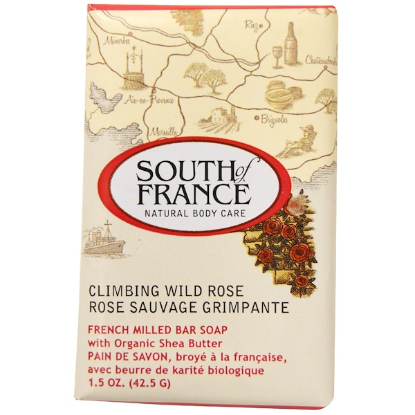 South of France, Climbing Wild Rose, French Milled Bar Soap with Organic Shea Butter, 1.5 oz (42.5 g) (Discontinued Item)