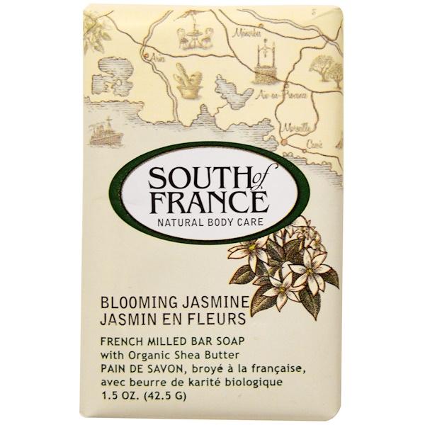 South of France, Цветущий жасмин, французское пилированное кусковое мыло с органическим маслом ши, 1,5 унций (42,5 г) (Discontinued Item)