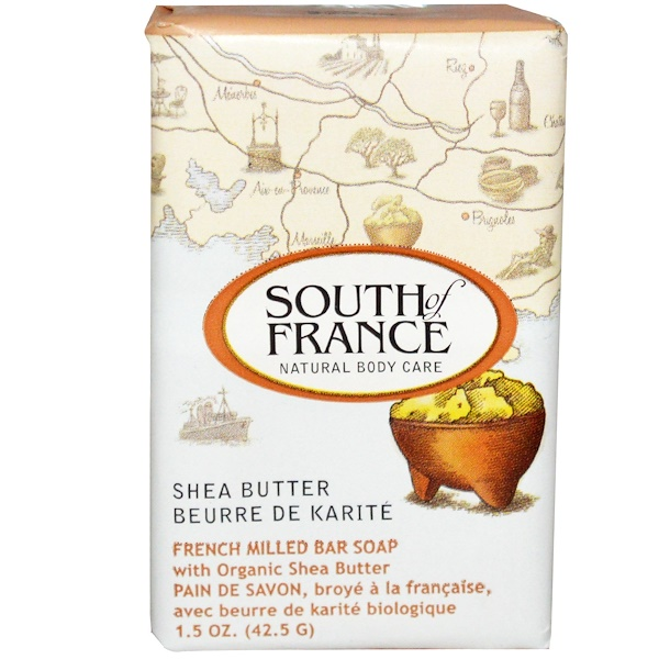 South of France, Shea Butter, French Milled Bar Soap, 1.5 oz (42.5 g) (Discontinued Item)