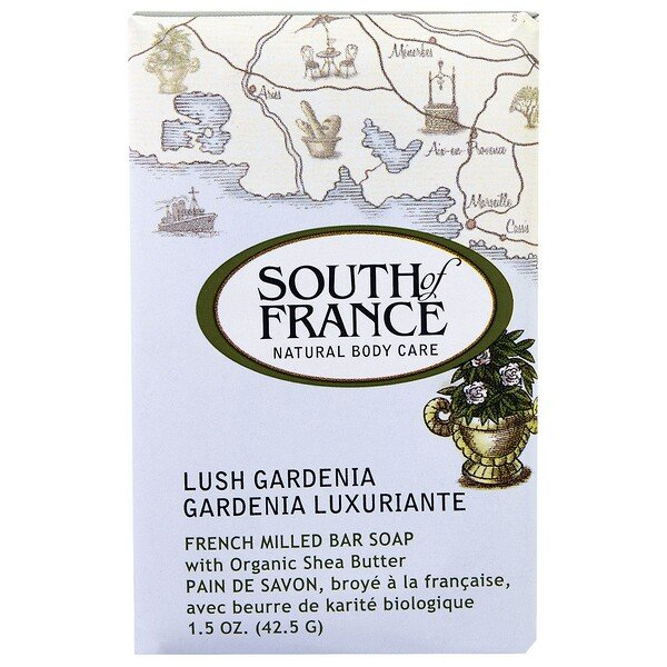 French Milled Bar Soap with Organic Shea Butter, Lush Gardenia, 1.5 oz (42.5 g)