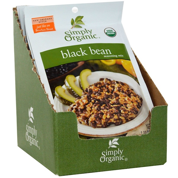 Simply Organic, Black Bean Seasoning Mix, 12 Packets, 1.00 oz (28 g) Each (Discontinued Item)