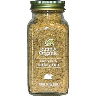 Simply Organic, Organic Savory Herb, Turkey Rub, 2.43 oz (69 g)