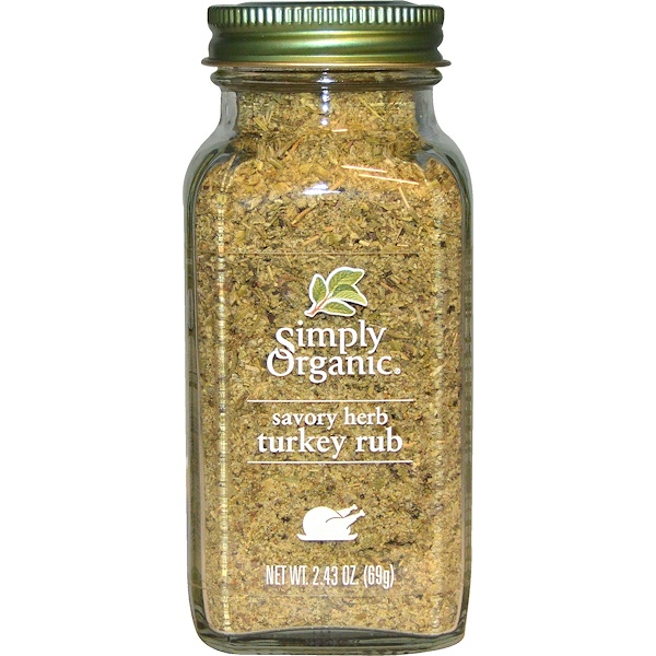 Simply Organic, Organic Savory Herb, Turkey Rub, 2、43 oz (69 g)