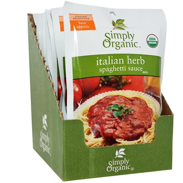 Simply Organic, 意大利香草意粉醬混合包,12包,1、31盎司(37克)包
