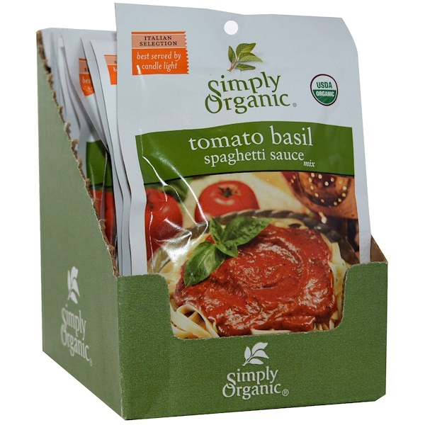 Simply Organic, Tomato Basil Spaghetti Sauce Mix, 12 Packets, 1.31 oz (37 g) Each (Discontinued Item)