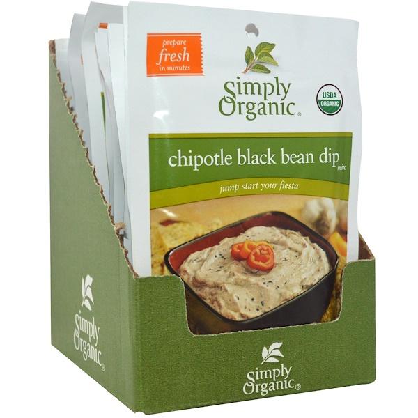 Simply Organic, Соус для макания из черной фасоли 12 пакетиков, 1.13 унции (32 г) каждый (Discontinued Item)