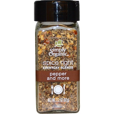 Simply Organic Organic Spice Right Everyday Blends, Pepper and More, 2.2 oz (62 g)