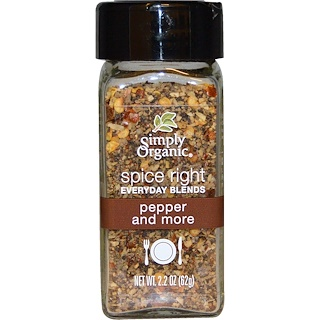 Simply Organic, Organic Spice Right Everyday Blends, Pepper and More, 2.2 oz (62 g)