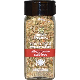 Simply Organic, Organic Spice Right Everyday Blends, All-Purpose Salt-Free, 1.8 oz (51 g)