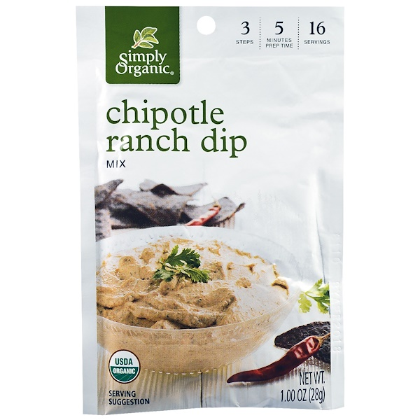 Simply Organic, Chipotle Ranch Dip Mix, 12 Pouches, 1.00 oz (28 g) Each (Discontinued Item)