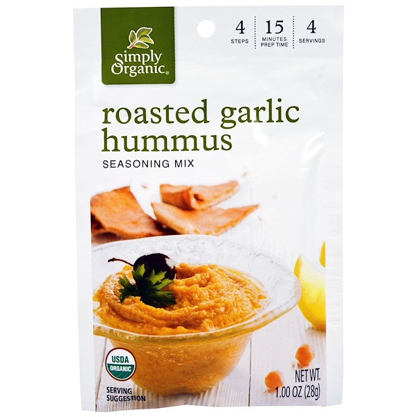 Simply Organic, Roasted Garlic Hummus Seasoning Mix, 12 Pouches, 1.00 oz (28 g) Each (Discontinued Item)