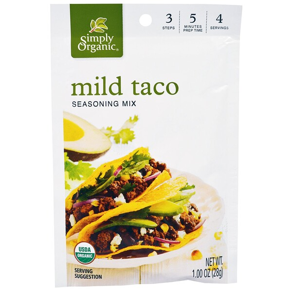 Simply Organic, Mild Taco Seasoning Mix, 12 Pouches. 1.00 oz (28 g) Each (Discontinued Item)
