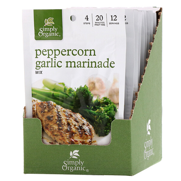 Simply Organic, Peppercorn Garlic Marinade Mix, 12 Packets, 1.00 oz (28 g) Each
