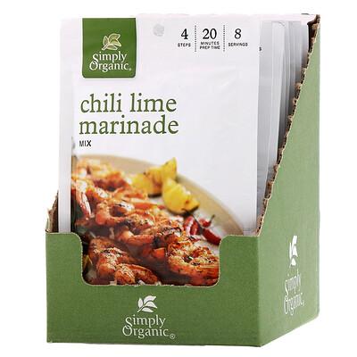 Simply Organic Смесь специй для маринада «Перец чили и лайм», 12пакетиков, 28г каждый