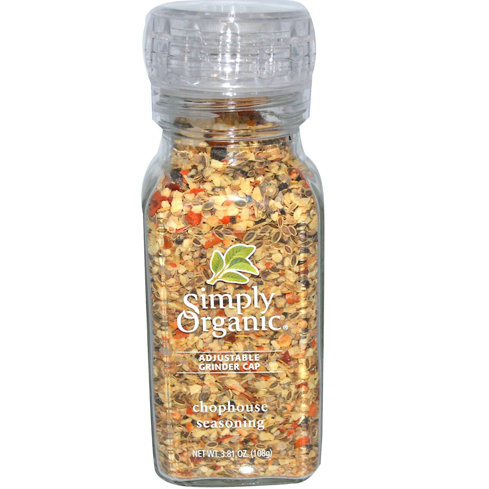 Simply Organic, Приправа для стейков с регулируемой мельничкой, 3,81 унции (108 г)