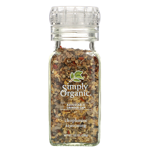 Simply Organic, Adjustable Grinder Cap, Chophouse Seasoning, 3.81 oz (108 g) (Discontinued Item)