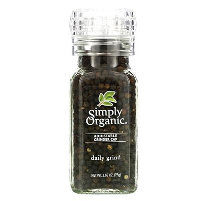 Simply Organic Ручная мельница, чёрный перец-горошек, 2.65 унции (75 г)