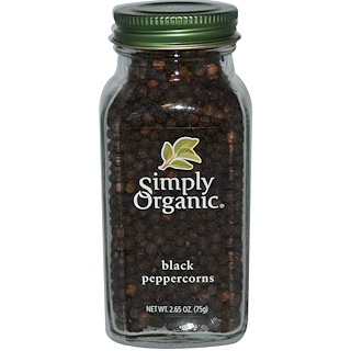 Simply Organic, Black Peppercorns, 2.65 oz (75 g)