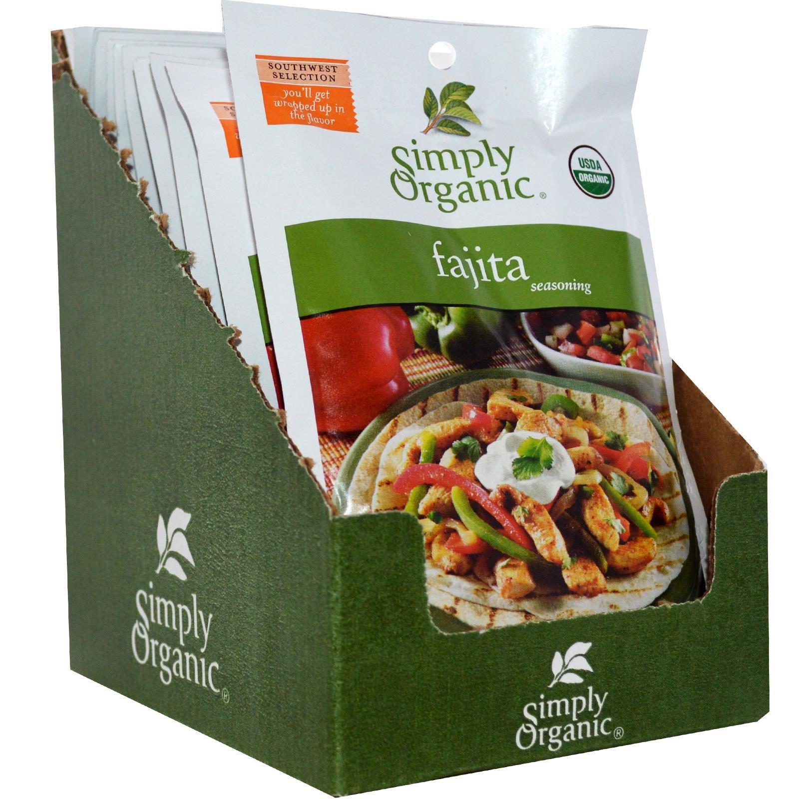 Simply Organic, Приправа фахита, 12 пакетов, по 1 унции (28 г) каждый